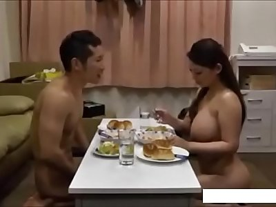 Hardest dinner ever got by a ginormous boob japenese wife - AmJerking.com